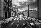 The streets of Lisbon. Lisbon tram. Portugal. black and white