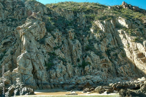 Foto op Aluminium Khaki Baja California Sur : Picturesque view Beach r. Its one of the most beautiful places in Cabo San Lucas, Los Cabos, Mexico.