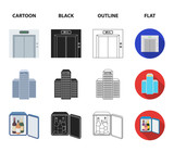 Elevator car, mini bar, staff, building.Hotel set collection icons in cartoon,black,outline,flat style vector symbol stock illustration web. - 197923804