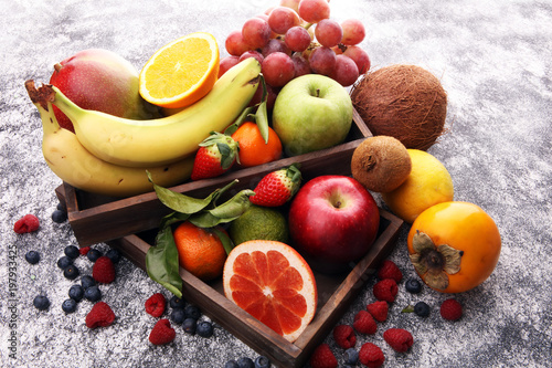 Fresh fruits. Mixed fruits background. Healthy eating, dieting, love fruits. - 197933425