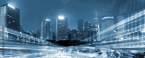 Leinwanddruck Bild Night traffic in a Megacity