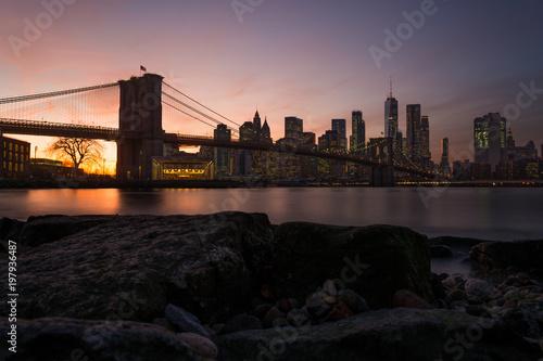 Foto op Plexiglas Brooklyn Bridge Brooklyn Bridge and Lower Manhattan from DUMBO