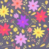 Colorful flower seamless vector pattern for spring design