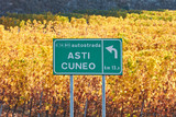 Asti Cuneo motorway street sign and vineyard in autumn with yellow leaves in a sunny day in Italy