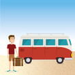 young man in the beach with suitcase and car vector illustration design