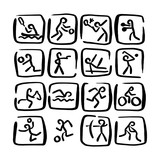 set doodle sport icons vector illustration sketch hand drawn with black lines isolated on white background