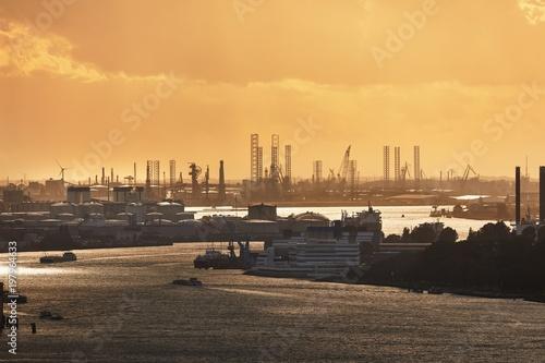 Keuken foto achterwand Rotterdam Rotterdam Port Dusk Panorma from Euromast