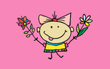 Cute cartoon girl with flowers. Children illustration. T-shirt graphic. cartoon character. - 197964803