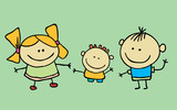 Cute children waving hand, boy and girl - 197964822