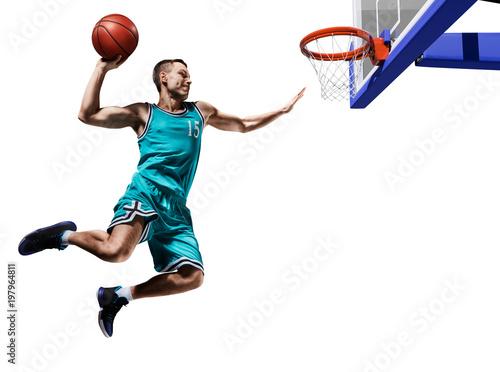 Plexiglas Basketbal basketball player making slam dunk isolated