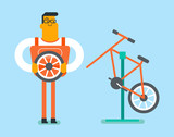 Caucasian white man working in the bike workshop and installing wheel. Technician fixing bike in the repair shop. Bicycle mechanic repairing a bicycle. Vector cartoon illustration. Horizontal layout.