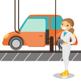 Caucasian white worker of factory controlling modern automated assembly line for cars. Happy young engineer at work at a car factory. Concept of car production. Vector cartoon illustration.
