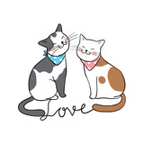 Vector character design couple cat in love