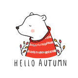 Vector illustration character design cute bear and beauty sweater in autumn Draw doodle style