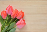 tulip flowers on a wood background