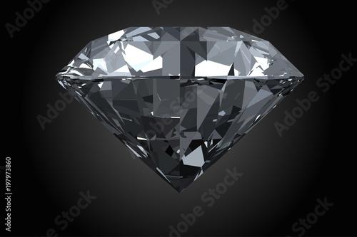 Klasyczny, fotorealistyczny diament na białym tle na czarnym tle. Ilustracji wektorowych.