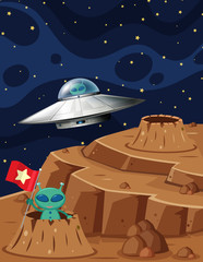Aliens exploring space in UFO