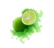 Lime on ink isolated over white background - 197982680