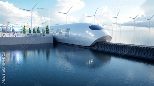 Leinwandbild Motiv speedly Futuristic monorail train. Sci fi station. Concept of future. People and robots. Water and wind energy. 3d rendering.