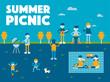 summer picnic concept poster vector flat design illustration set