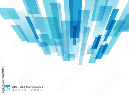 Abstract technology vertical perspective overlapped geometric squares shape blue colour on white background with copy space. © phochi