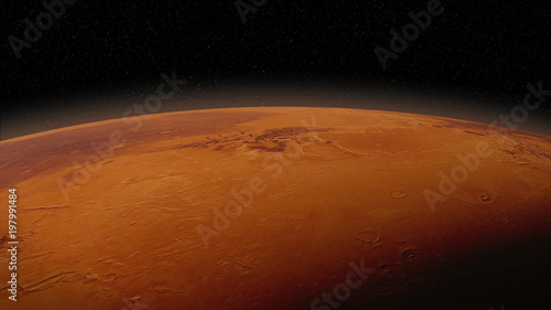 red planet Mars in natural colors, surface close up with visible atmosphere - 197991484