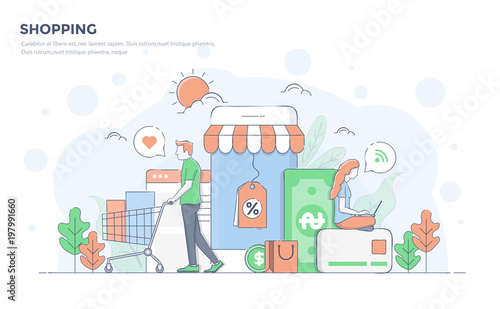 Flat Line Modern Concept Illustration - Shopping