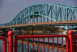 Gryfino, Poland, steel bridge over a river.