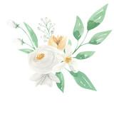 Watercolor Flower White Yellow Bouquet Arrangement