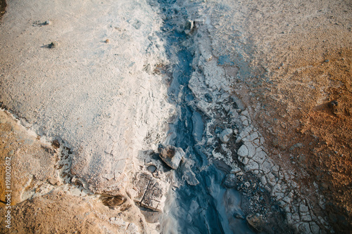 Fotobehang Groen blauw top view of erosion in rock formations at hot spring in iceland