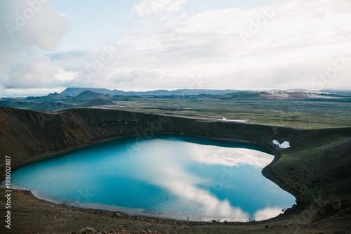 beautiful scenic landscape with majestic volcanic lake in iceland, krafla, lake viti