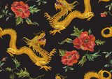 Embroidery oriental floral pattern with golden dragons and red poppies. Vector seamless embroidered template with flowers and animal for fashion design