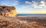 Sunset on the beach, the Mediterranean Sea, Cyprus, the beach of Aphrodite. Beautiful seascape