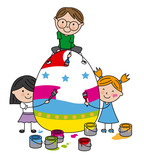 children painting a big easter egg