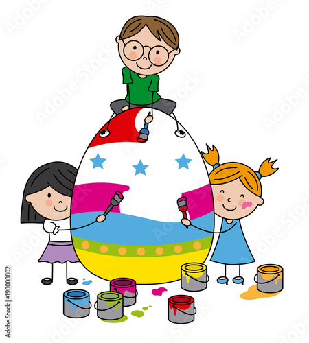 children painting a big easter egg - 198008802