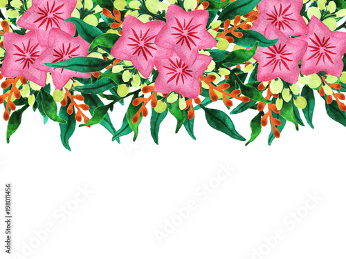 Watercolor spring flowers and leaves background. Hand drawn floral illustration, lush green vegetation with pink star-shaped flowers and berries