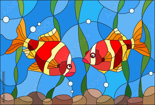 illustration-in-stained-glass-style-with-a-pair-of-fishes-barbs-on-the-background-of-water-and-algae
