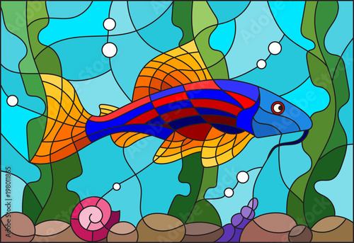 illustration-in-stained-glass-style-with-a-bright-catfish-on-the-background-of-water-and-algae