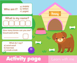 Activity page for kids with cute puppy. Educational children game. Worksheet test. Words and numbers, counting.