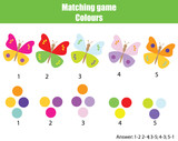 Educational children game. Match by color. Find pairs of butterflies and colors - 198013830