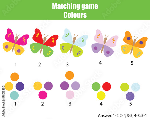 Fototapeta Educational children game. Match by color. Find pairs of butterflies and colors
