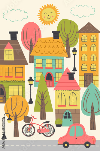 small town urban landscape - vector illustration, eps