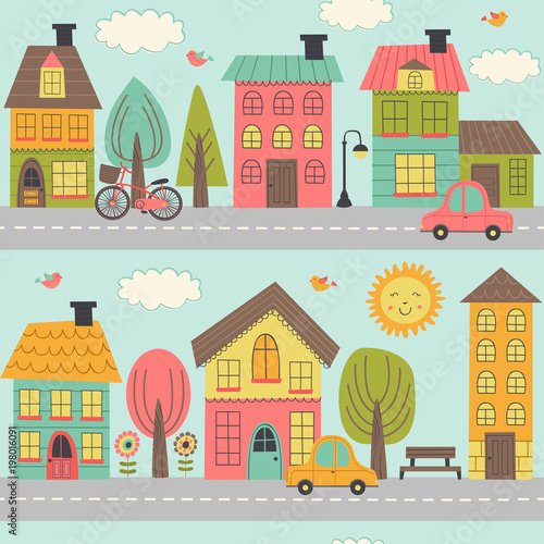 seamless pattern with street of small town - vector illustration, eps  © nataka
