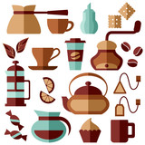 Vector illustration with coffee elements. Flat style. Suitable for cafe, coffee shop, coffee house or web