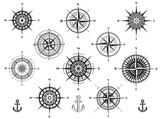 Set of wind roses silhouettes on white background. Compass vector illustrations. - 198023633