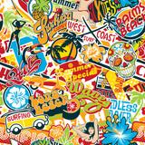 vintage summer surfing beach stickers patchwork vector seamless pattern wallpaper