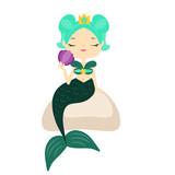 Cute cartoon mermaid sitting on stone holding shell