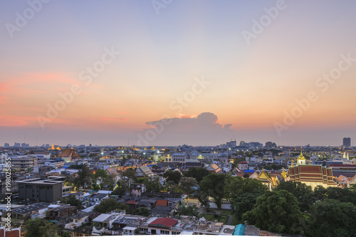 Fotobehang Bangkok evening time view from golden mount, bangkok, thailand