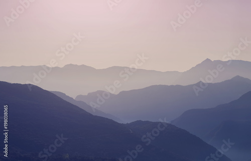 In de dag Ochtendgloren Landscape silhouette of the mountains at sunset. Panorama of peaks mountain in the Greece
