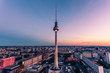 Cityscape of downtown Berlin, Germany at sunset hour